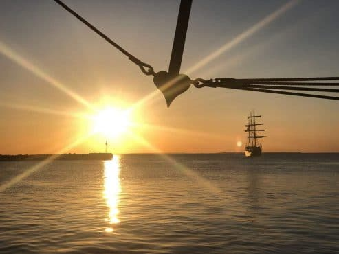 Classic tall ship at sunset Twister