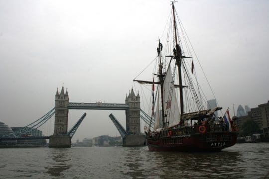 Tall ship under tower bridge in London Atyla