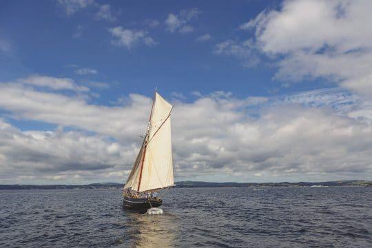 Agnes classic boat stern Cornwall sailing