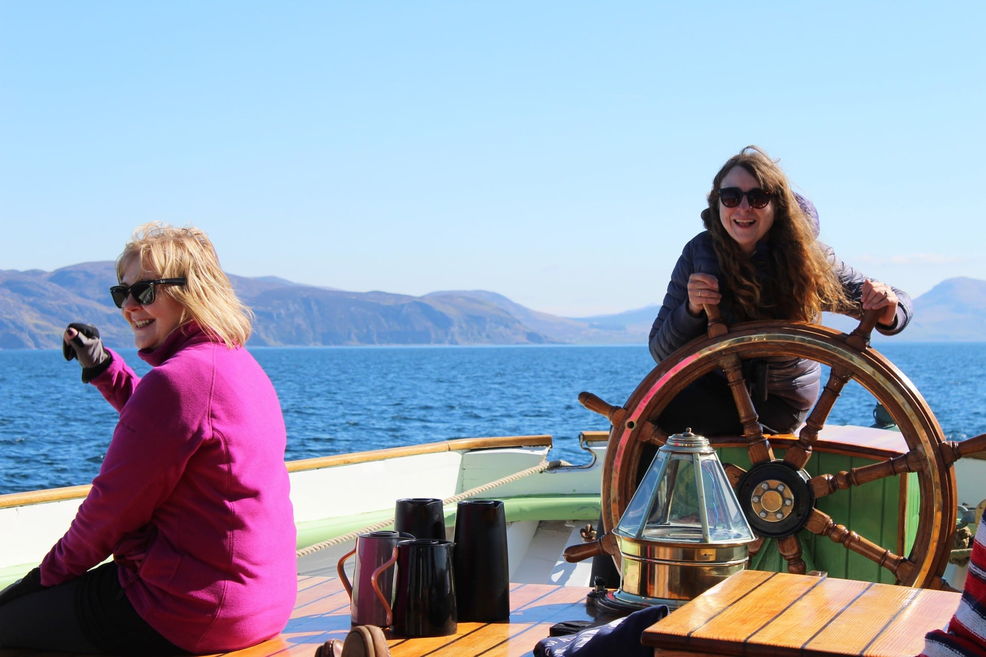 Guests at the helm of Bessie Ellen