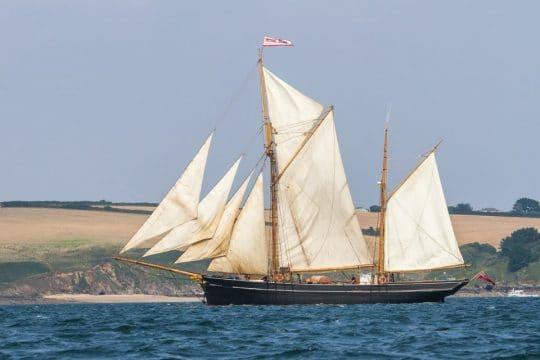 Bessie Ellen sailing along the Cornish coast