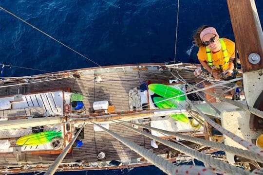 Blue Clipper up the mast