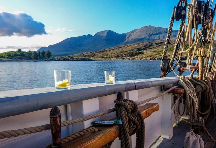 Gin and tonic on board Bessie Ellen in Scotland
