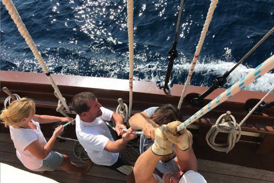 Florette guests hoisting sail