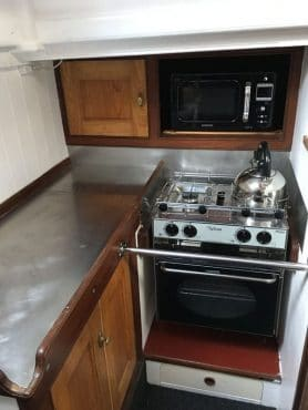 Our Daddy Cornish lugger galley kitchen