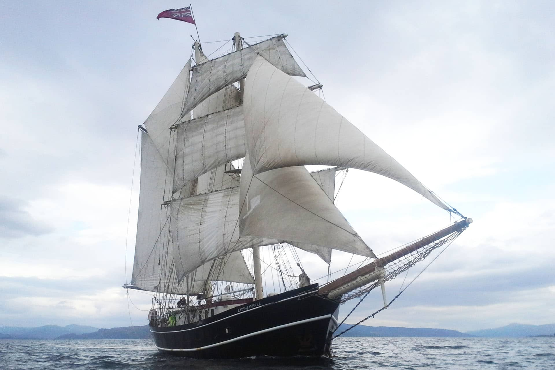 Lady of Avenel sailing from bows