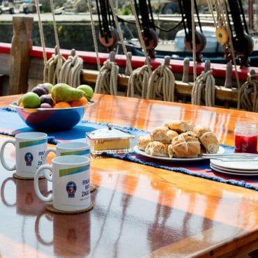Breakfast on board Johanna Lucretia