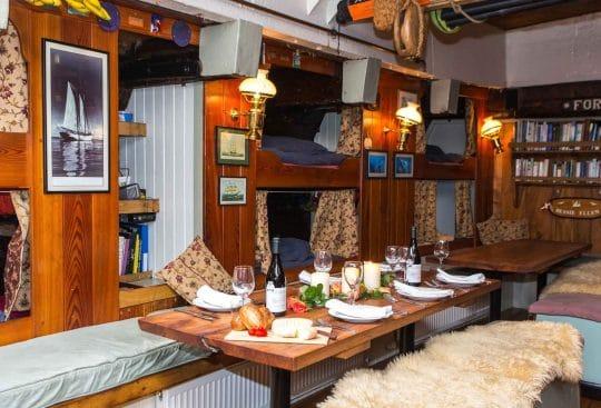Dining area on board Bessie Ellen