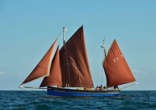 Our Daddy Cornish lugger full sail