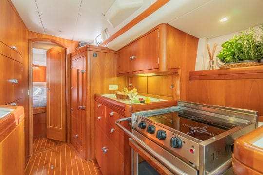 Luxury charter yacht galley