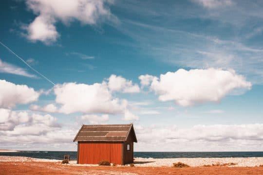 Sweden Gotland red cabin