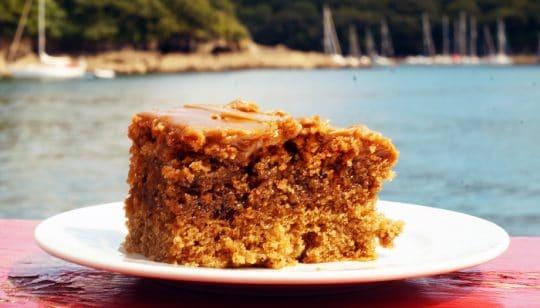 Cake on board Johanna Lucretia in Fowey